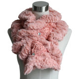 Lady Fashion Cotton Polyester Knitted Fur Scarf (YKY4365B-2)