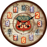Vintage Decoration Antique Elegant Route 66 Design MDF Wooden Print Paper Decal Wall Clock