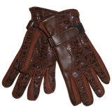 Lady Fashion Acrylic Knitted PU Leather Warm Gloves (YKY5003)