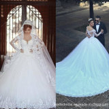 Long Sleeves Bridal Dress Ball Gown Tulle Lace Wedding Dresses We2015