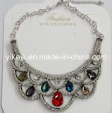 Lady Fashion Jewelry Colorful Waterdrop Glass Crystal Collar Necklace (JE0196-colorful)