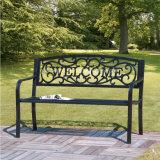 2-Person Black Checkered Cast Aluminum Outdoor Patio Garden Bench
