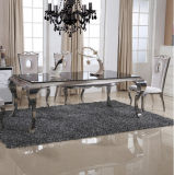 Modern High Gloss Glass Top Dining Table with Stainless Steel