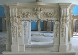 Handcarved Wall Mounted Natural Beige Antique Marble Fireplace for Indoor Decoration