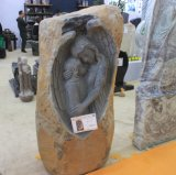 China Quarry Customized Upright New Creative Carved Angel Basalt Grave Monument Slab for Baby Popular in Germany