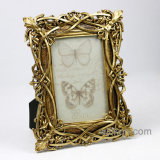 "Hot Sale New Style 4X6"" Top Gold Antique Resin Photo Frame"