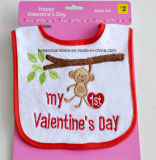 Customized Design Valentine′s Day Cotton Embroidered Baby Bib