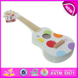 Christmas Musical Toys Cheap Mini Electric Guitar for Kids, Cartoon Wooden Guitar Toy for Children, Baby Wooden Toy Guitar W07h031