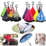 C-Hook Hands Windproof Reverse Folding Double Layer Inverted Umbrella Self Stand Inside out Rain Protection Umbrella