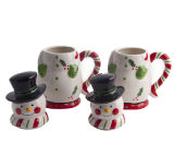 Branded Set of 2 11-Oz Snowman Ceramic Mugs with Gift Boxes for Christmas