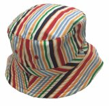 Customized Bucket Strip Sun Hat with Embroidery for Summer