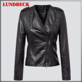 Fashion Black PU Jacket for Women Outer Wear