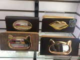 Women's Leather Clutch Wallet PU Card Holder Purse Handbag with Glass Design