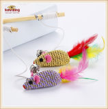 Hot Selling Cat Teaser Mouse Toy with Wood Handle /Cat Toys (KB3034)