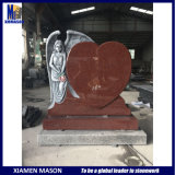 Wholesale Antique Weeping Angel Heart Indian Red Granite Cemetery Headstone