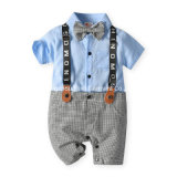 2021 Summer Gentleman Short-Sleeved Handsome Knitted Cotton Romper Newborn Baby Clothes Boys Wear