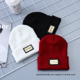 Custom Wholesale Acrylic Beanie Winter Knitted Hats with Leather Patch