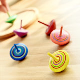 Wholesale Wooden Colorful Spinning Top Gyroscopes Kids Wood Child Gift Educational Toy