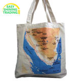 Customized Printing Promotional Long Handle Tote Shopper Calico Cotton Canvas Shopping Bag