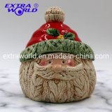 Hot Selling Christmas Craft Home Decoration Creative Santa Ceramic Food Cookie Container Jar
