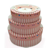 Cute Decorated Oval Shape Paper Gift Storage Box Set