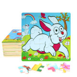 Factory Direct Hot 3D DIY Chindlren Cartoon Wooden Frame Puzzle Educational Toys Rabbit