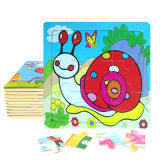 Factory Direct Hot 3D DIY Chindlren Cartoon Wooden Frame Puzzle Educational Toys Snail
