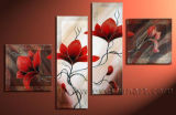 Wholesale 4 Panels Handmade Oil Painting Flower Style Decorative Flower Painting on Canvas
