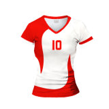 Womens Red and White Short Sleeves Sublimation Volleyball Jersey Shirts for Women