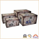 4-PC Bicycle Print Wooden Storage Ottoman Trunk