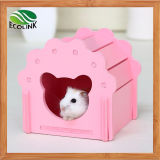 Hamster Wooden House Safe Hideout for Small Animals Blue Pink White Green
