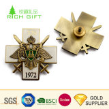 Wholesale Simple Design Custom Metal Enamel German Russia Cross Eagle Company Logo Pin Badge with Butterfly Clutch