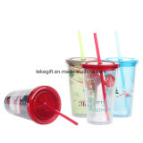 Hot Sale Wholesale Double Walled Christmas Acrylic Tumbler with Straw