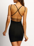 2017 V Neck Sexy Women Crisscross Back Bodycon Dresses Wholesale