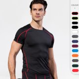 Men′s Workout Fitness Sports T Shirt Gym Compression The Solid Color Top