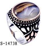 New Models 925 Silver Man Ring with Yemen Stone