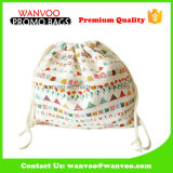 Promotional Leisure Full Colorful Printed Cotton Drawstring Backpack for Travel