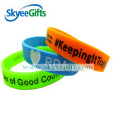 Artificial Creation Printed Text Word Silicone Handband for Business Gift