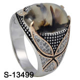 2016 Latest Fashion Jewelry Natural Agate Silver Men Ring (S-13499)