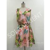 Hot Sale Sleeveless Chiffon Print Dress with PU Belt (DR-15)