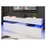 Large LED TV Stand Modern High Gloss Cabinet Glass Shelf
