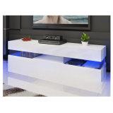 Large Modern High Gloss Cabinet Glass Shelf LED TV Stand