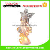 Personalize Beauty-Shape Ceramic Hollow out Angel Statue with Candle Light