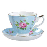 Porcelain Tea Cups and Saucers 8oz Multi-Color with Gold Trim