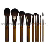 9PCS Retro Synthetic Hair Cosmetic Brush Set Factory Manufacturer OEM&ODM