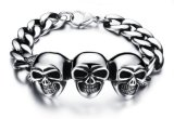 Three Skull Bracelet Vintage Men Jewelry 316L Stainless Steel Chain Rock Punk Style Bracelets Men's Jewellery Accessories Pulseras