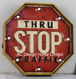 "Vintage Decoration Antique Emboss ""Thru Stop Traffic"" Design Metal and Plastic Frame Wall Decor W/LED Light"