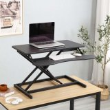 Ergonomic Folding Laptop Table Pneumatic Height Adjustable Sit Stand Computer Standing Desk Workstation Stand up Desk Converter