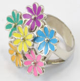 Fashion Epoxy Stainless Steel Pretty Flower Colorful Ring