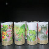 Decorative LED Candles Light with Hemp Rope Wrapped Pillar Wax Candles Can with Logo